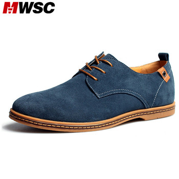 MWSC רך בוהן עגול אופנה נעליים מזדמנים גברים עור זמש נעלי עור אדם לנשימה מעצב גברים מותג בתוספת גודל 48 נעלי