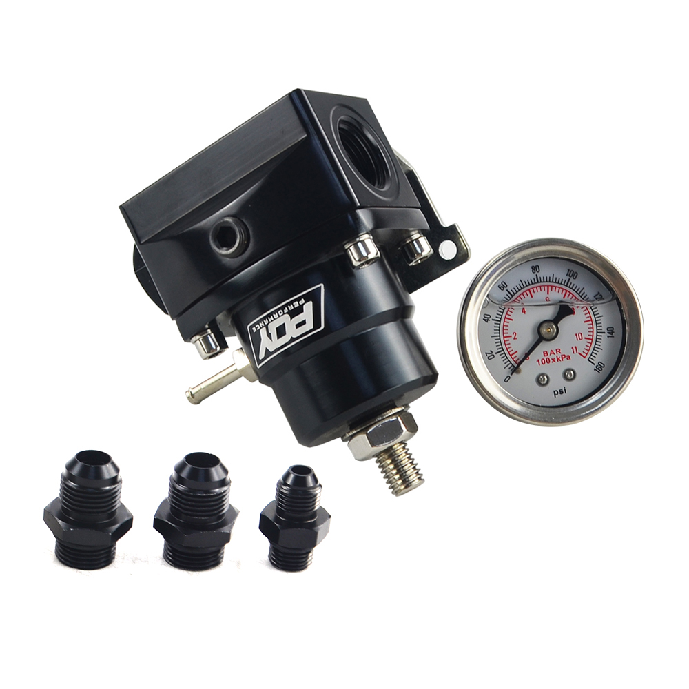 Image 3 - FREE SHIPPING   AN8 high EFI pressure fuel regulator w/ boost  8AN 8/8/6 PQY Fuel Pressure Regulator with gauge JR7855-in Oil Pressure Regulator from Automobiles & Motorcycles