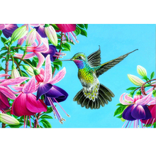 GLymg Rhinestones Embroidery Rubiks Cube  Humming Bird 5D Diamond Painting DIY Gift Wall Arts Decor