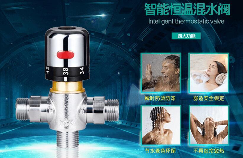 Ванная комната Смеситель меди термостатический смесительный клапан солнечный подогреватель воды клапан кран Регулировки Контроль Темпер…