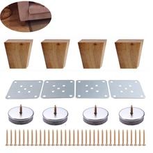 Patas de muebles trapezoides de madera maciza, ángulo recto, 8cm de altura, sofá, banco, armario, patas, sofá, sillón, pie, 4 Uds.