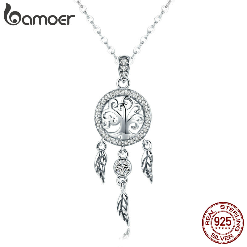 BAMOER Real 925 Sterling Silver Tree Of Life Fashion Dream Catcher Pendant Necklaces For Women Sterling Silver Jewelry SCN298