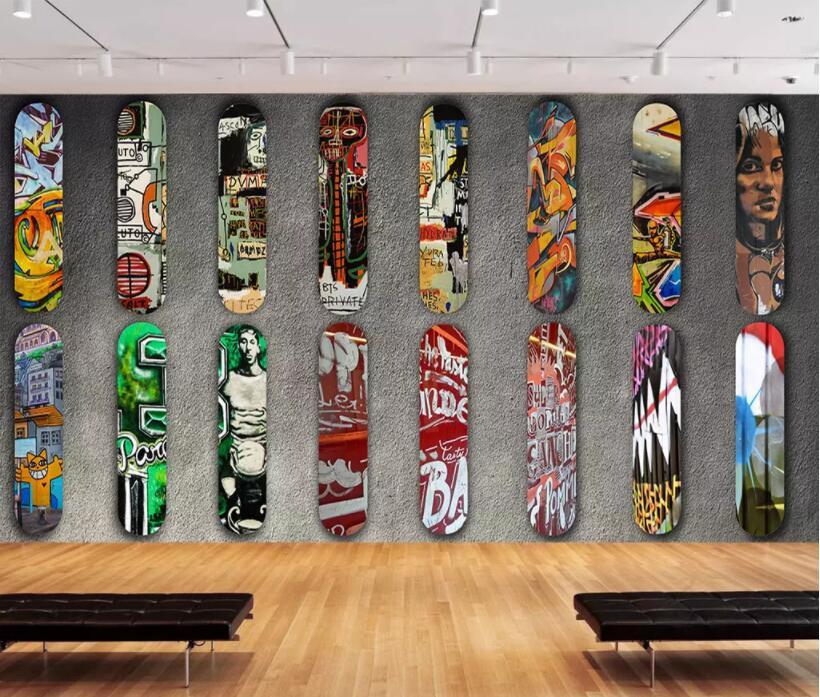 Benutzerdefinierte Tapete Wandmalereien Skateboard Landschaft Selbst Adhesive Vinyl Wand Aufkleber Wand Papier Kunst Wand Malerei Wohnzimmer GroßEs Sortiment