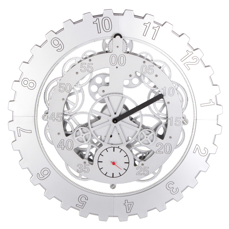 US $302 5 |Wonderful brand 18 inch circle engraved wall clock gears rotate  clock grade ABS plastic bell atmosphere home accessories-in Desk & Table