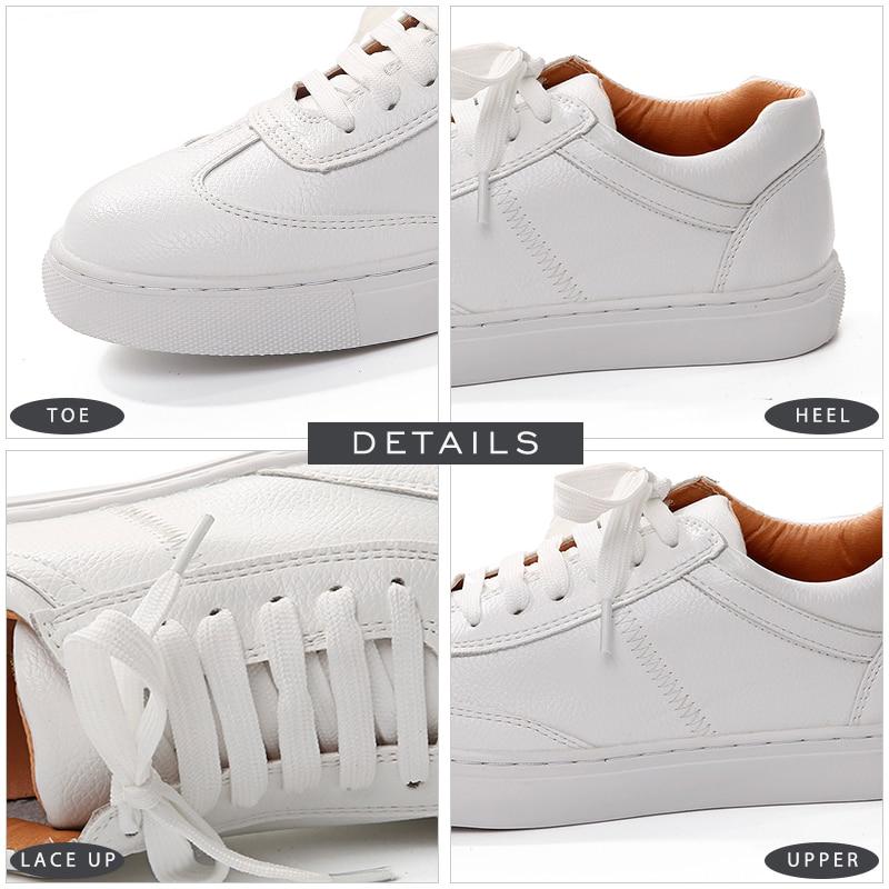 Chaussures Mode Blanc forme Coins Fille Véritable Printemps Sneakers Femmes Cuir Plate Appartements Casual En Bout Lace Up Jk Rond qawtOgUt