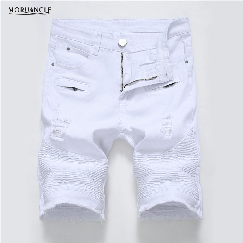 MORUANCLE Summer Men Ripped Biker Jeans   Shorts   White Moto Denim   Shorts   For Male Multi Big Pockets Brand Designer Plus Size 28-40