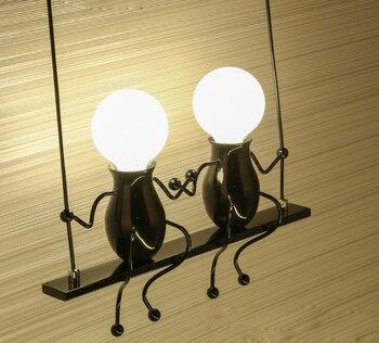 Boneca Dos Desenhos Animados LEVOU Lâmpada De Parede Moderna Criativo Montado Arandela De Ferro Luz Da Parede Luz Da Parede Para Crianças Quarto De Bebê Corredor E27