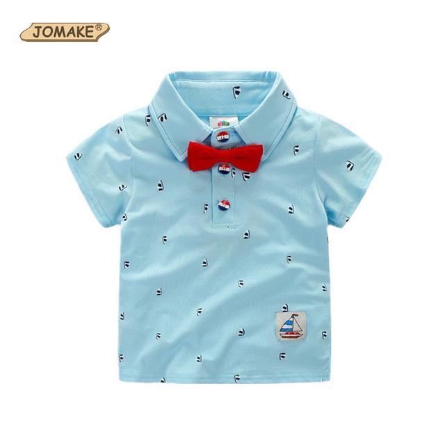Veleiro impressão verão 2016 bebê de algodão cavalheiro laço meninos Polo de moda de nova crianças roupas criança camisa