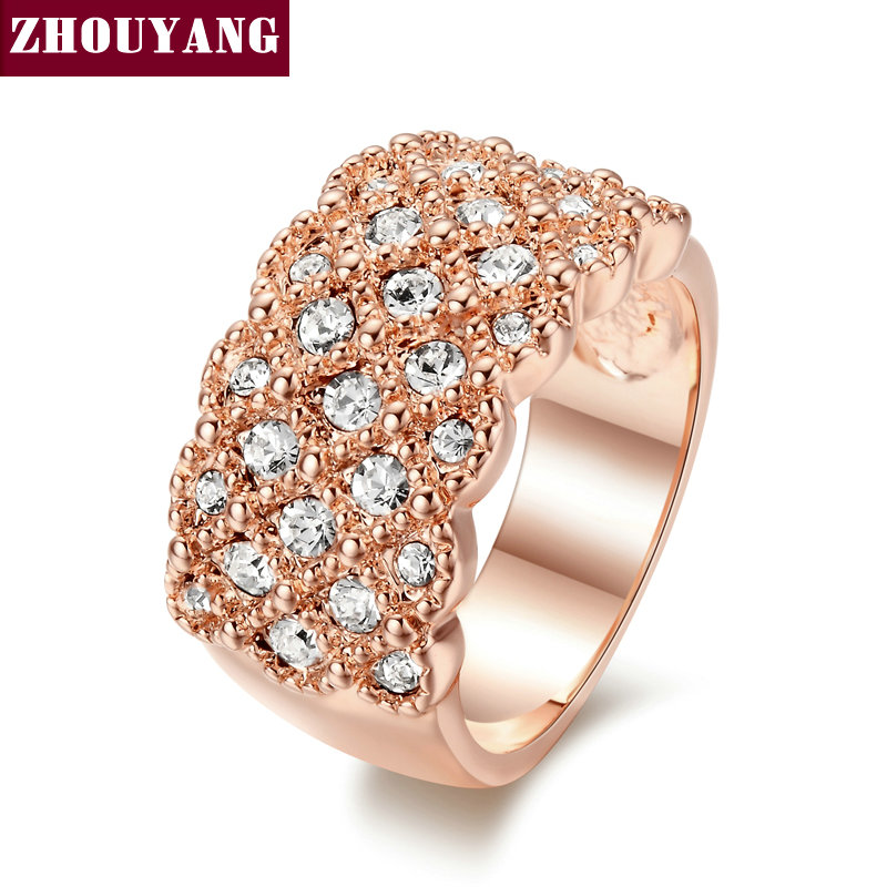 ZHOUYANG Top Quality ZYR020 Fully Jewelled Ring Rose Gold Color Wedding Ring Austrian Crystals