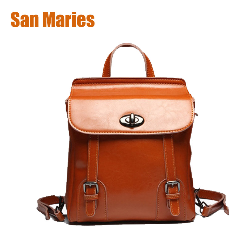 San Maries Large Capacity Women Anti Theft Backpack Oil Wax Cow Split Leather Backpack for Teenage Girls School Backpacks 33cm women backpack oil wax cow genuine leather backpack for teenage girls school large capacity shoulder bag brown tote mochila