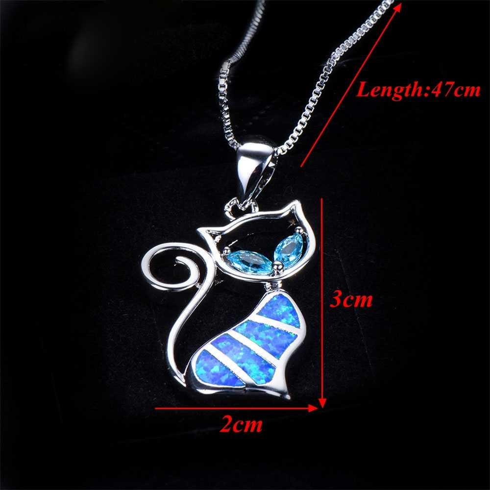 Лидер продаж, 1 комплект, милый синий кулон с кошкой, ожерелье с опалом, очаровательные Модные женские ювелирные изделия с животными, модные ювелирные изделия, элегантный подарок