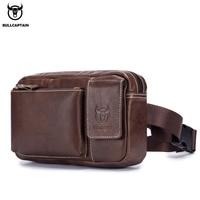 BULLCAPTA Genuine Leather malle Waist Packs Fanny Pack Phone Belt bag Pouch Gray Black Bum Hip Bag 9.7 Tablet PC bag belt pack