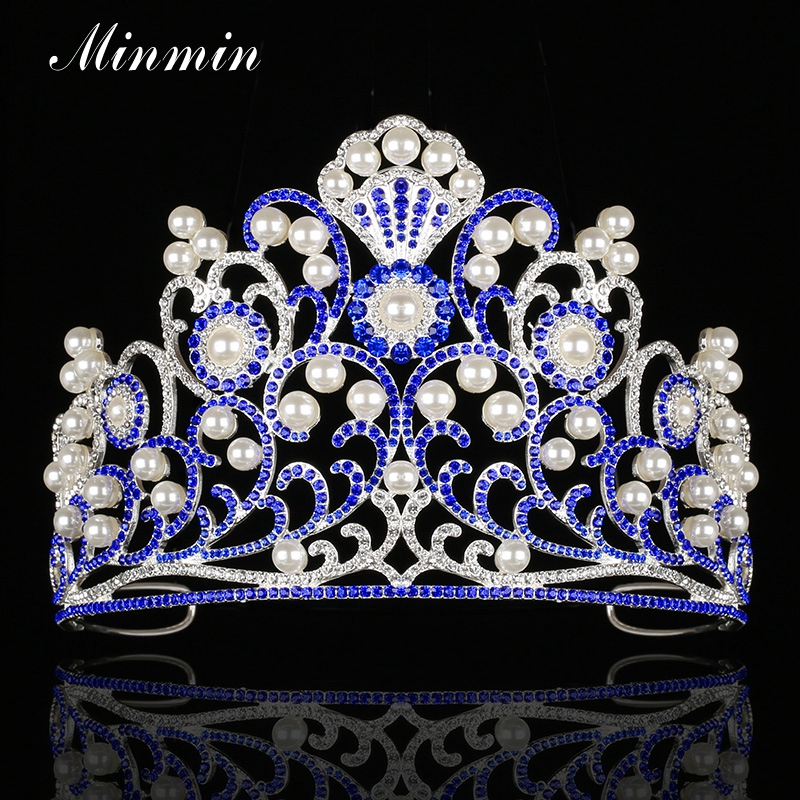 Minmin Romantic Simulated Pearl Flower Queen Tiaras and Crowns Blue Crystal Silver Color Bridal Wedding Hair Jewelry MHG111