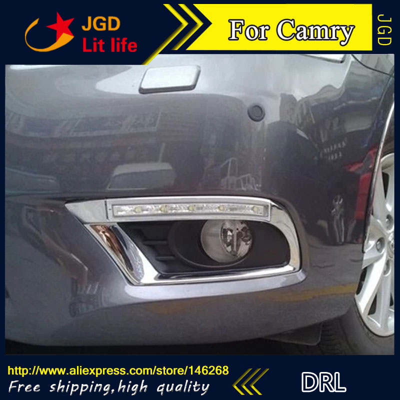 Free shipping ! 12V 6000k LED DRL Daytime running light for Toyota Camry 2010 2011 fog lamp frame Fog light Car styling free shipping 2pcs lot car styling lamp 7443 80w daytime running light with daytime running light for dacia duster hs 2010