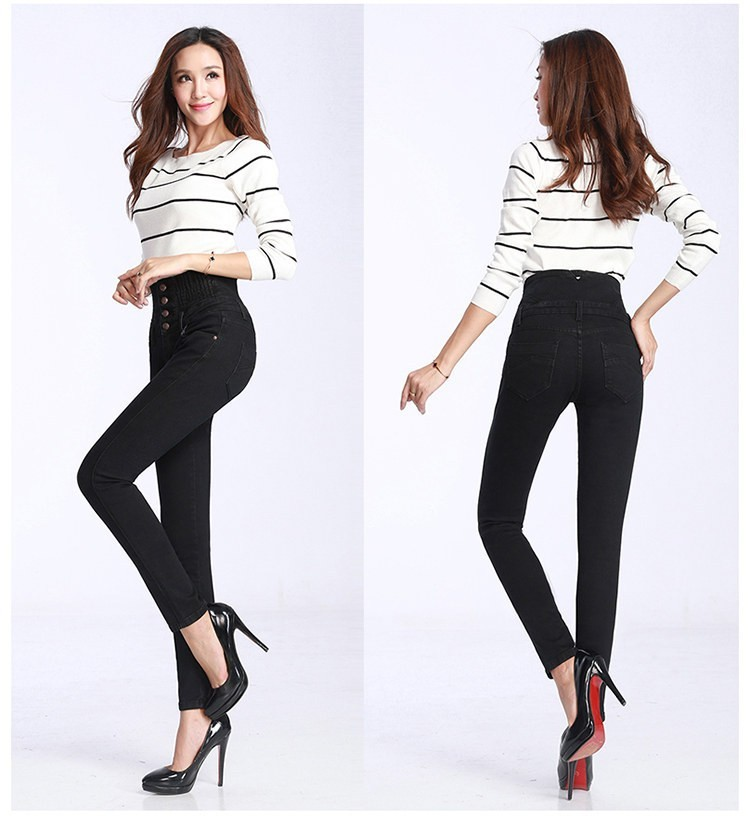 2019 jeans print  Fashion Women Elastic High Waist Skinny Stretch Jean Female Spring Jeans Feet Pantalones mujer Plus Size 3