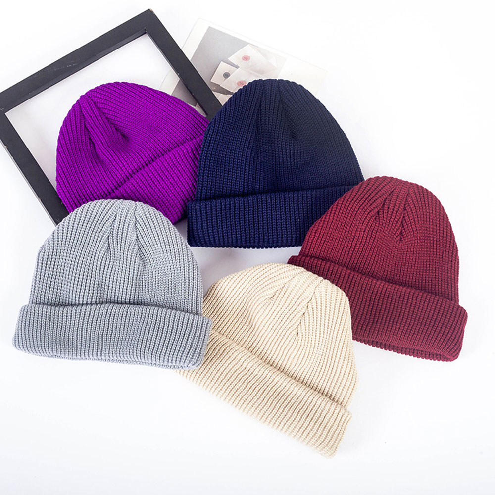 a3714ff194a New Unisex Knitted Hat Skull Cap Men Women Hip Hop Beanie Hats Navy Winter  Warm Ribbed Turn Ski Docker Casual Solid Color Hats-in Skullies   Beanies  from ...