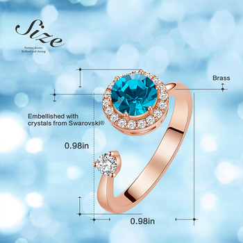 Cdyle Rose Gold Ring Embellished with Crystal from Swarovski Birthstone Jewellery Adjustable Size Rings for Female Birthday Gift 3