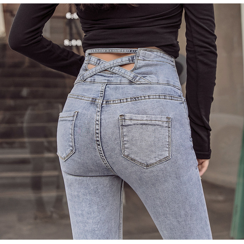 Джинсы карандаш с высокой талией женские эластичные джинсы скинни