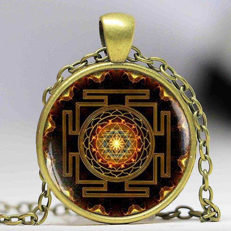 Buddhistisk Sri Yantra vedhæng Mandala halskæde blomster hellig - Mode smykker - Foto 2