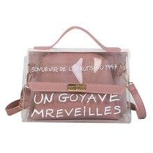 Women Composite Bags PVC Transparent Handbag Letters Printed PU Leather Purse Shoulder Bag PO66
