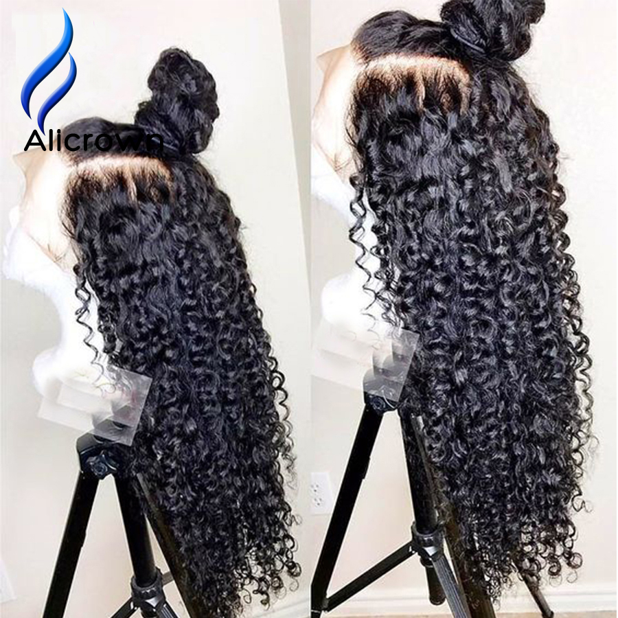 Image 5 - ALICROWN Curly 13*4 Lace Front Human Hair Wigs Brazilian Remy Middle Ratio Hair With Baby Hair Pre Plucked Hairline 130Density-in Human Hair Lace Wigs from Hair Extensions & Wigs