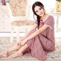 Plus size short sleeve 100% cotton fabric ultra long nightgown female sleepwear maternity lounge long sleeve 2xl