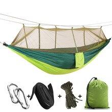 Di động Ngoài Trời Cắm Trại Võng với Mosquito Net Vải Dù Võng Giường Treo Đu Ngủ Giường Cây Lều