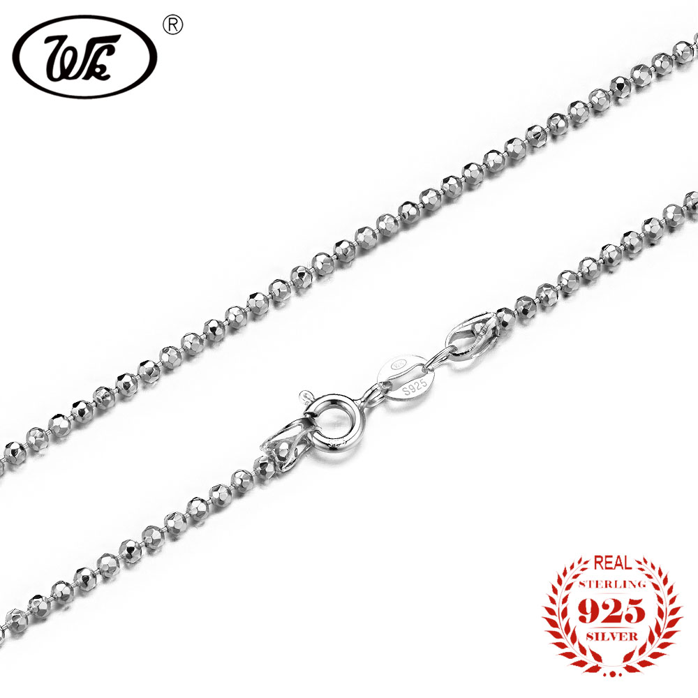 WK Casual Men Women Beads Necklace 925 Sterling Silver