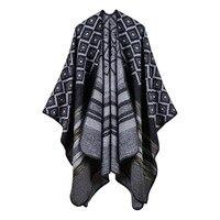 Vente chaude Femmes Outwear Hiver motif Géométrique Foulards Châles Nouvelle Mode Lady Capes Surdimensionné Tricoté Poncho RO17002