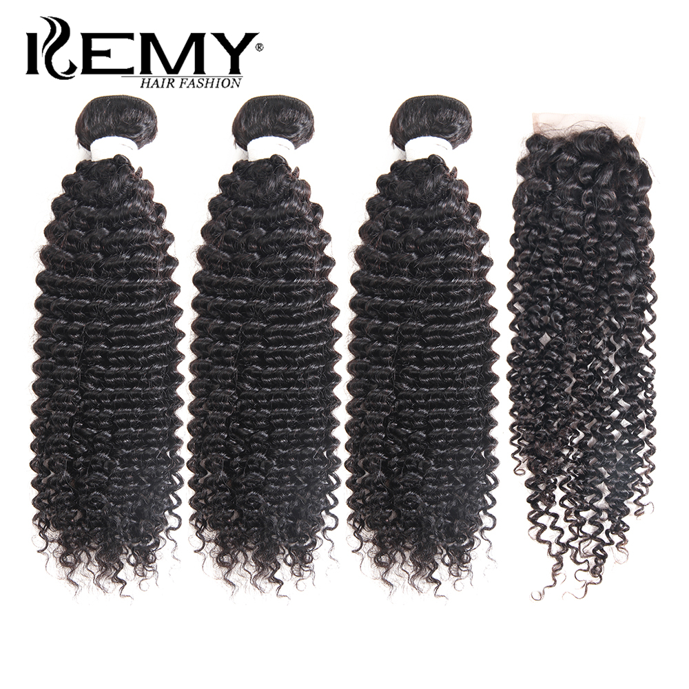 KEMY HAIR FASHION Kinky Curly Peruvian Remy Human Hair Bundle Med - Menneskelig hår (for svart)