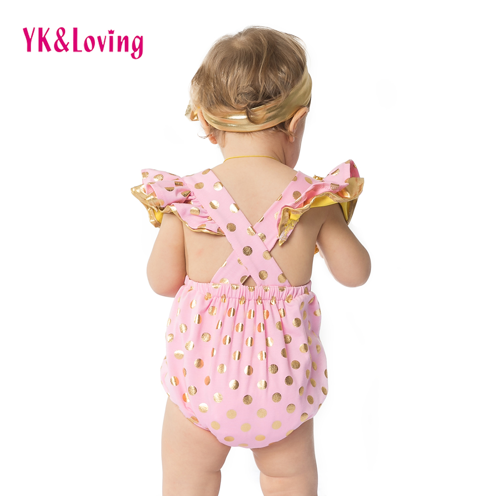 2017 Newborn Baby Rompers Cotton Ruffle Gold Dot Jumpsuits Girl Romper Costume Overalls Girls Clothes Photo Props With Headband summer newborn baby rompers ruffle baby girl clothes princess baby girls romper with headband costume overalls baby clothes