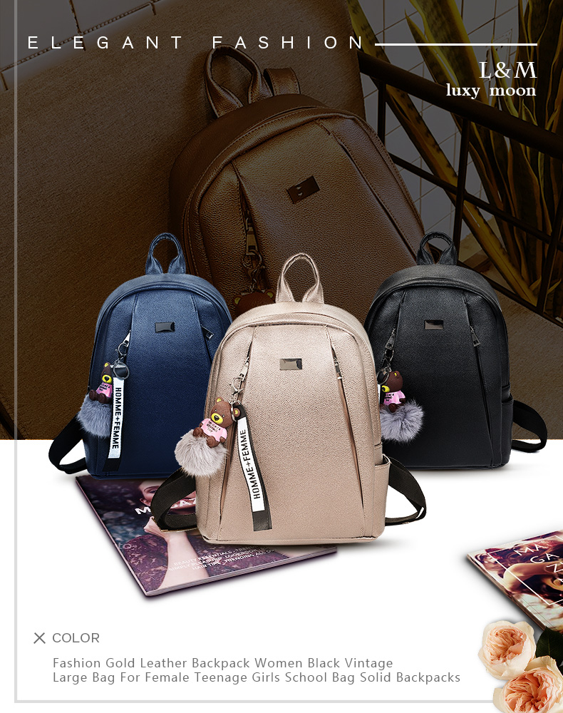 HTB1iYGzRFzqK1RjSZFoq6zfcXXaM Fashion Gold Leather Backpack Women Black Vintage Large Bag For Female Teenage Girls School Bag Solid Backpacks mochila XA56H