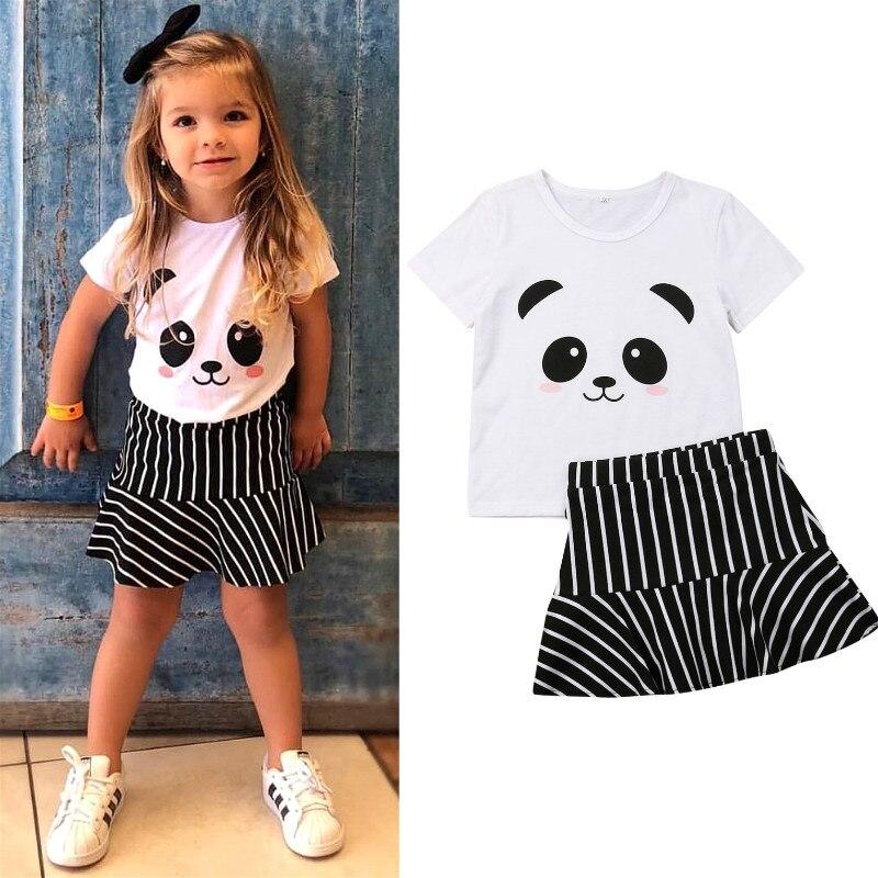 2019 Lindo Ninos Vestidos Bebe Nina Ropa De Verano Conjunto Panda Print T Shirt Raya Falda