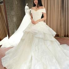 kejiadian Luxury A Line Wedding Dresses Train V-neck