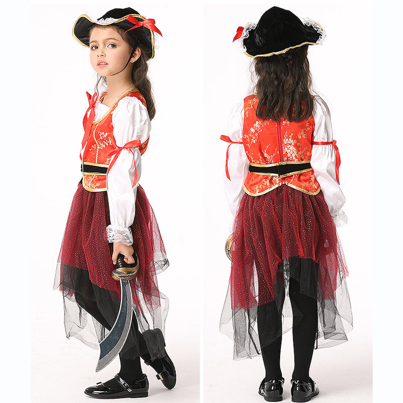 Halloween Cosplay Baby Clothing pirate Hat Tops Skirt 4pcs Children Set Summer Autumn Long Sleeve Infant Girls Clothes for Party devil may cry 4 dante cosplay wig halloween party cosplay wigs free shipping