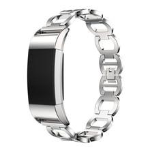 Натуральная Нержавеющая сталь Браслет Смарт часы ремешок для fitbit заряд 2 SZ1229