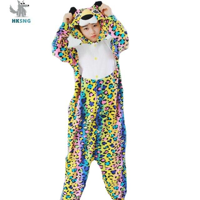 HKSNG Adult Panther Kigurumi Pajamas Cartoon Rainbow Leopard Onesies  Halloween Party Cosplay Costumes Jumpsuits Pyjamas 94195a7950e21