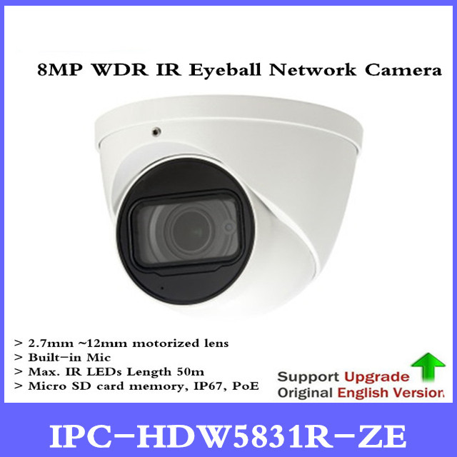 DH Nouvelle version Originale Anglaise sans logo IPC-HDW5831R-ZE 8MP WDR IR Globe Oculaire Caméra Réseau POE CCTV Micro Intégré IP67