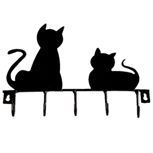 IMC Hot Black cat design Metal Iron Wall Door Mounted Rustic Clothes Coat hat key hanging Decorative Wall Hooks Robe Hanger