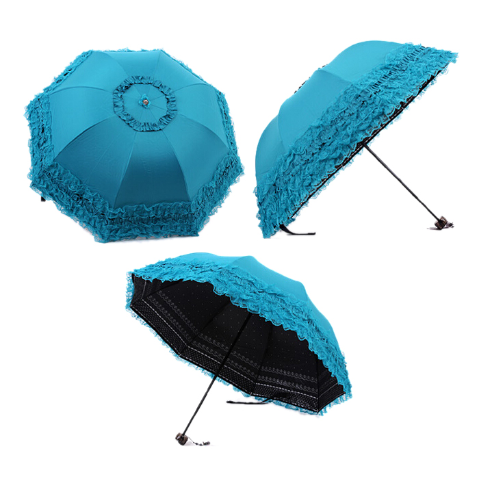 Fashion and Comfort Women's Princess Dome/Birdcage Sun/Rain Folding Umbrella For Wedding Lace Trim blue 4pcs set smoke sun rain visor vent window deflector shield guard shade for hyundai tucson 2016