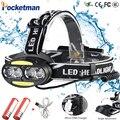 Faro 30000 Lumen 4 * XM-L T6 + 2 * cob + 2 * rojo LED cabeza de la lámpara de la linterna antorcha Lanterna con cargador de baterías z91