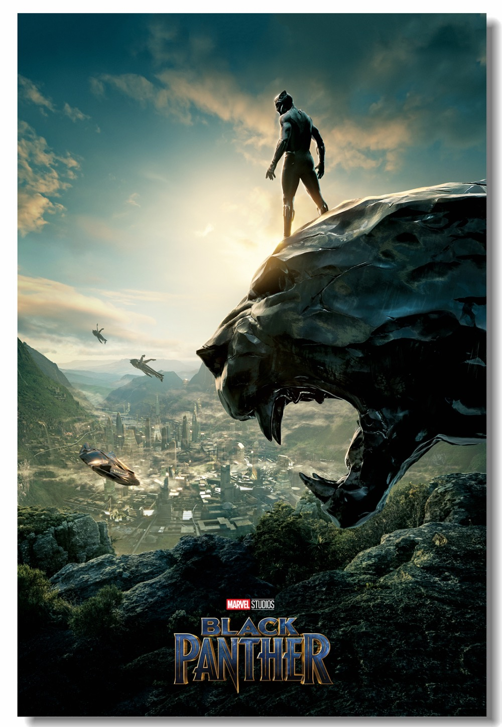 Custom canvas wall decor marvel black panther poster black panther wall stickers tchalla wakanda wallpaper office mural 0311