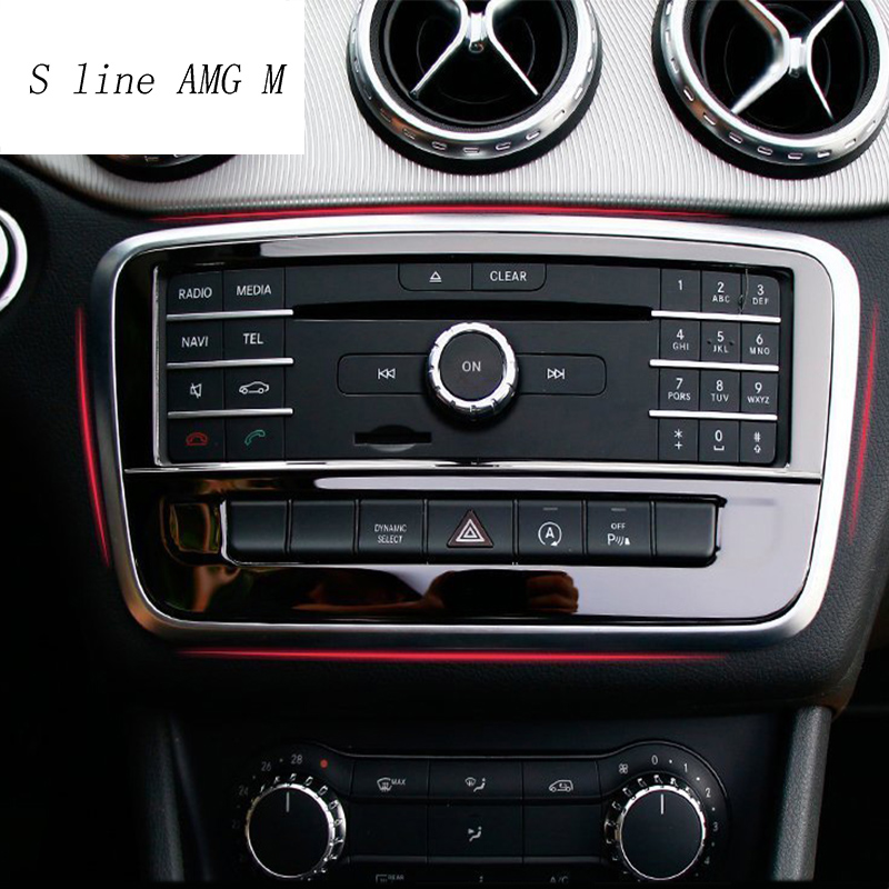 Car styling stainless steel Control air conditioning CD panel decorative cover trim for Mercedes Benz GLA X156 CLA C117 A Class