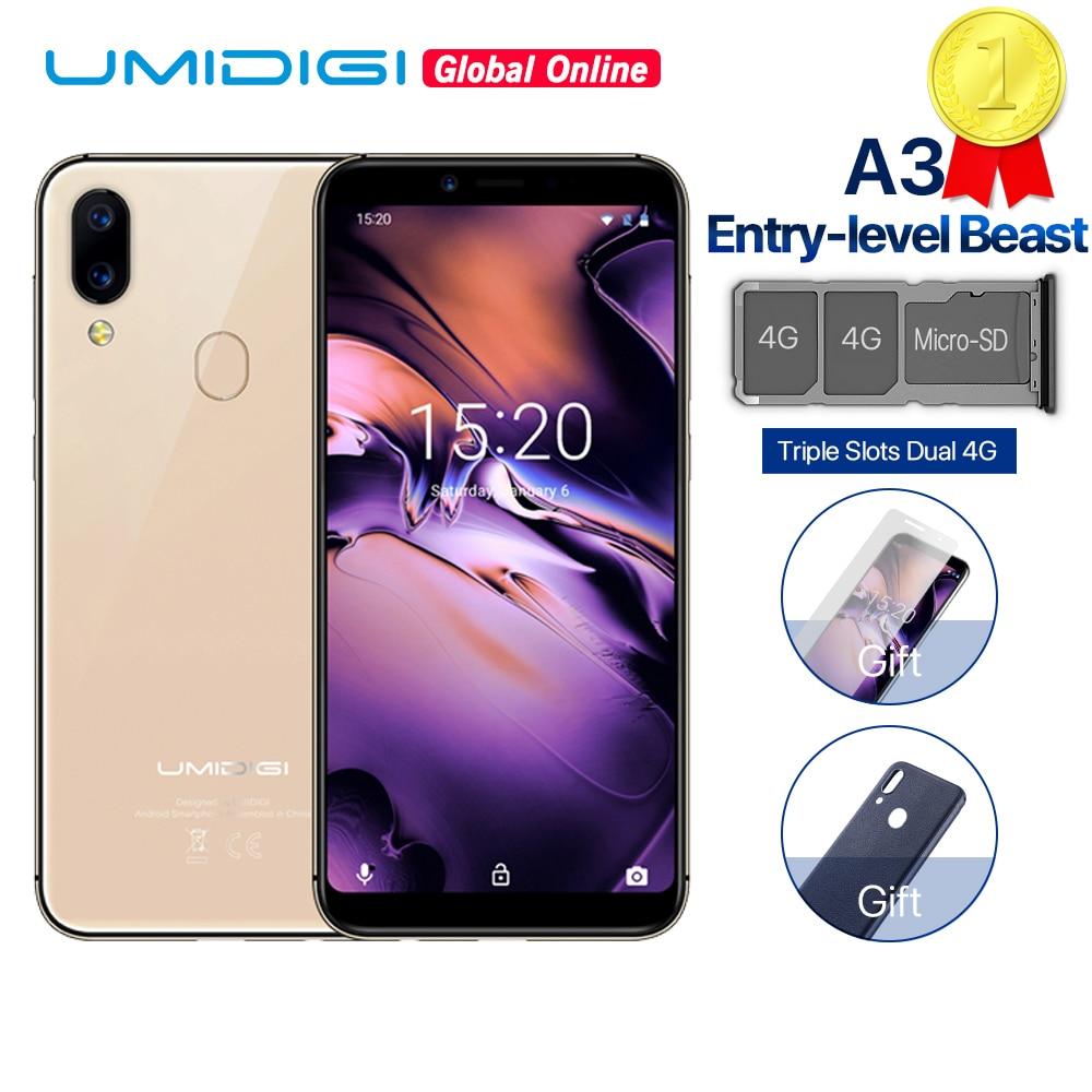 UMIDIGI A3 Global Band Dual 4G 5.5 HD + 2GB + 16GB téléphone portable Android 8.1 Quad Core Face déverrouiller 12MP + 5MP trois fentes Smartphone