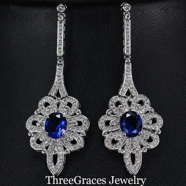 3 opções de cores do vintage jóias cz micro pave cubic zirconia mulheres brincos longos oscila com simulado sapphire pedra er223