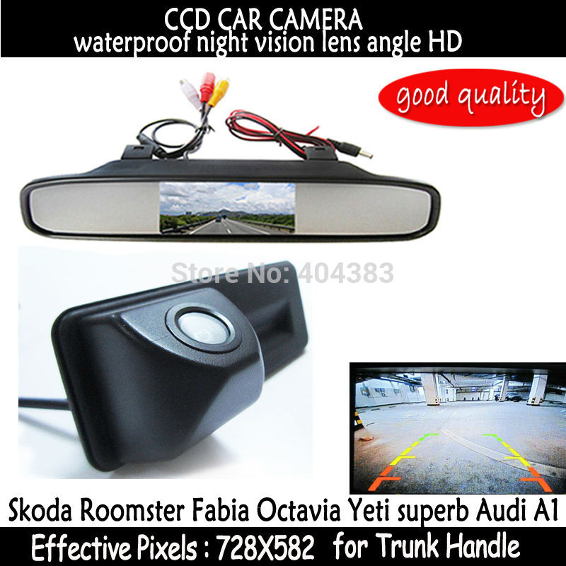 rear view Car Mirror Monitor + HD CCD car rear view Trunk handle Camera for Skoda Roomster Fabia Octavia Yeti superb for Audi A1 hd ccd night viosn car trunk handle reverse parking rear view camera for audi a1 skoda roomster fabia octavia yeti superb
