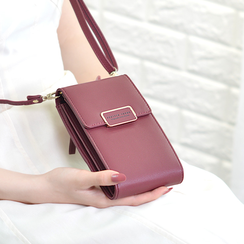 New 2019 Brand Long Vintage Women Messenger Shoulder Straps Bag Card Holders Women Cell Phone Pocket Handbag Ladies Phone Purse(China)
