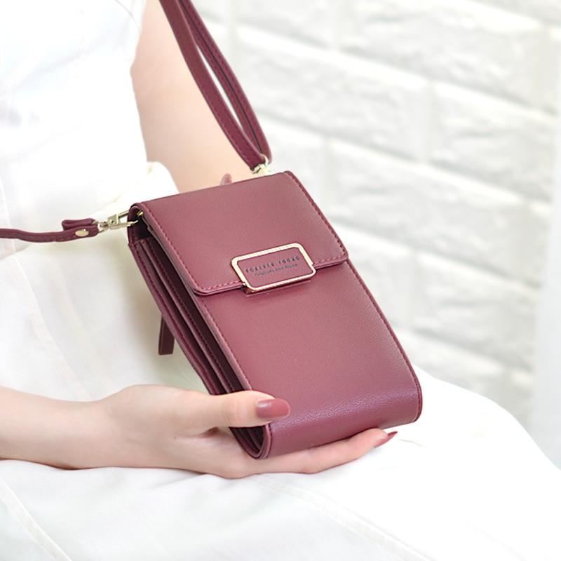 New 2020 Brand Long Vintage Women Messenger Shoulder Straps Bag Card Holders Women Cell Phone Pocket Handbag Ladies Phone Purse