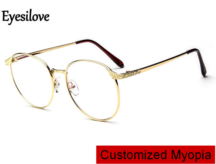 Eyesilove Myopia-Glasses Frame Women for Round Near-Sighted Single-Vision Customized