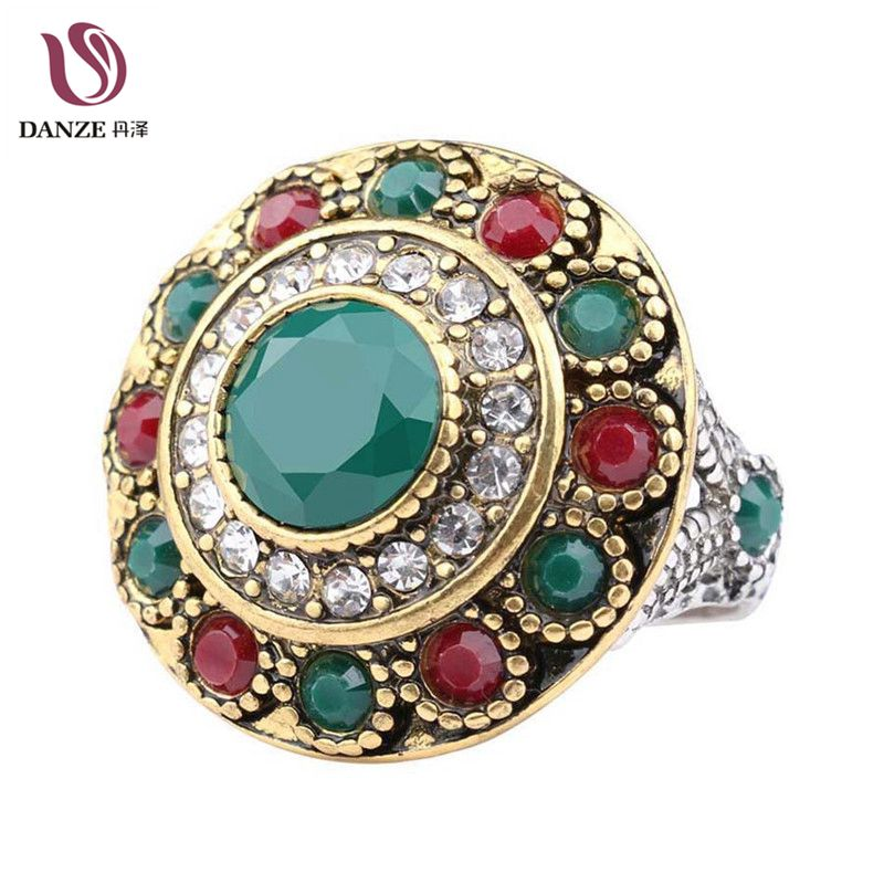 Danze Vintage Turkish Multicolor Resin Crystal Finger Rings For Women Men Antique Gold Color Midi Ring Jewelry Accessories